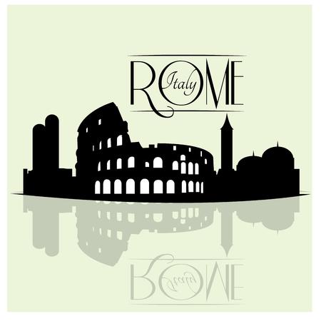Isolata skyline di Roma, con una riflessione su uno sfondo colorato