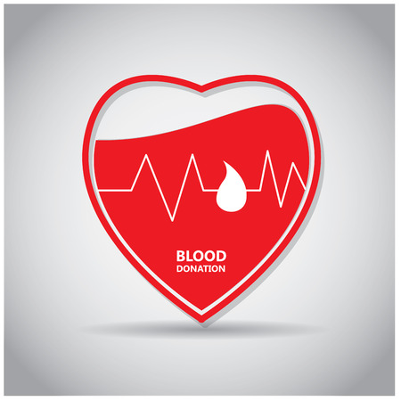transfuse: Isolated heart with a cardiogram and text on a colored background