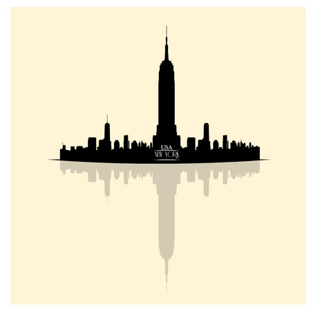 empire state building: Isolated skyline of New York with a reflection on a white background
