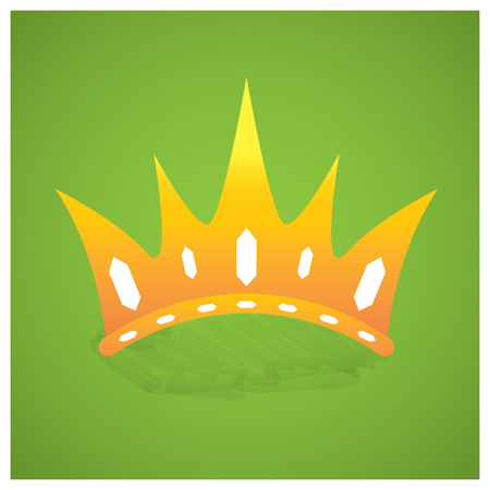 royal background: Isolated royal crown on a green background