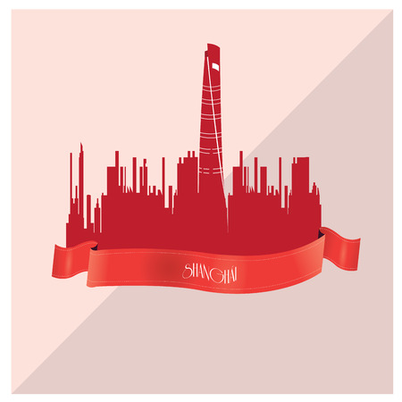 shanghai skyline: Isolated skyline of Shanghai with a ribbon with text on a colored background