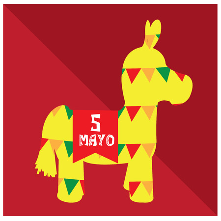 commemorate: Isolated silhouette of a donkey toy on a colored background