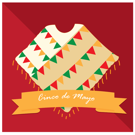 commemorate: Isolated traditional clothes and a ribbon with text on a colored background