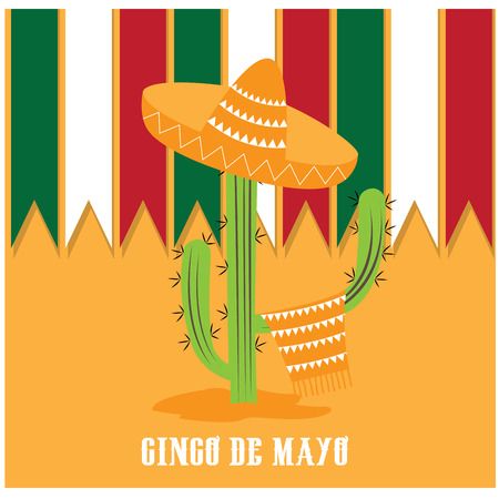 commemorative: Isolated cactus with traditional mexican clothes and hat on a colored background