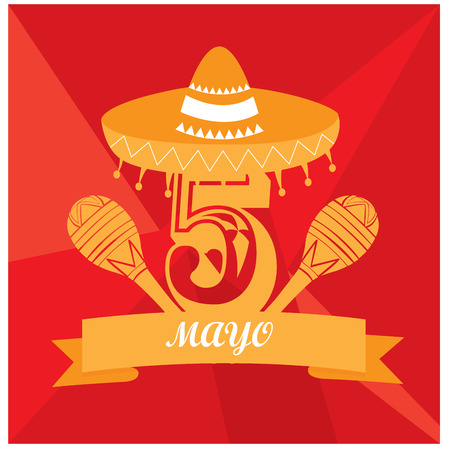 commemorative: Isolated pair of maracas, a traditional mexican hat and a ribbon with text Illustration
