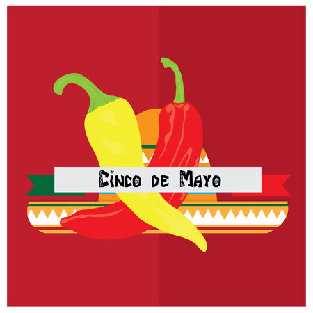 Isolated pair of peppers, a ribbon with text and a traditional mexican hat