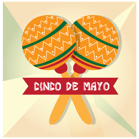 commemorative: Isolated pair of maracas and a ribbon with text on a textured background Illustration