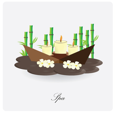spa objects: Isolated group of spa objects like candles and flowers on a white background Illustration