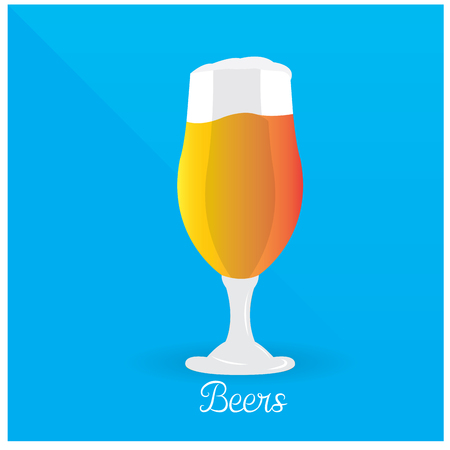 alphabet beer: Isolated glass with beer and foam on a blue background with text
