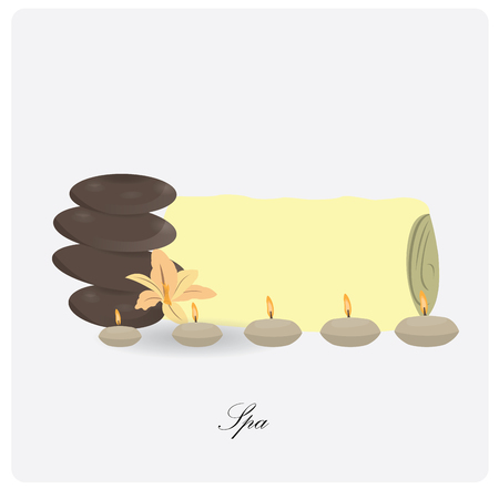 therapy group: Isolated pile of stones, a flower and a group of candles on a white background