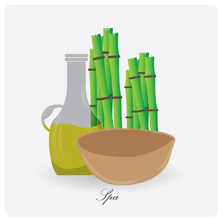 group therapy: Isolated flask of lotion and bamboo on a white background Illustration