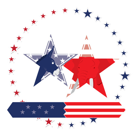 democrat: Isolated pair of stars with the republican and democrat symbols on a white background with more stars