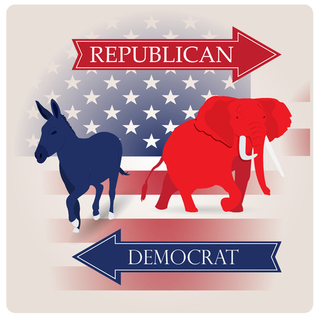 republican: Colored background with the american flag and both the republican and democrat symbols Illustration
