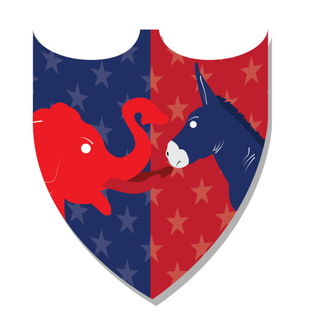 democrat: Isolated heraldry shield with both republican and democrat symbols on a white background