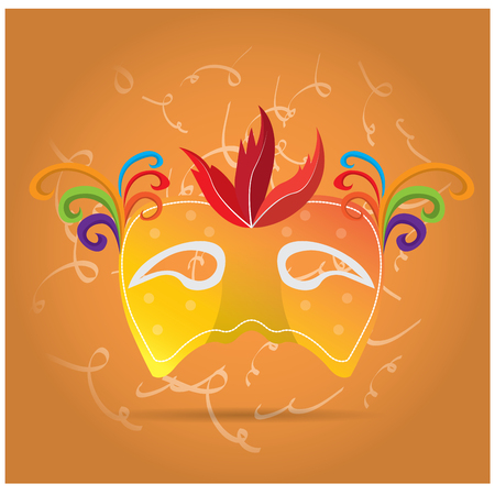 stage costume: Isolated carnival mask with ornaments and feathers on an orange background