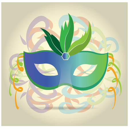 mardi grass: Isolated carnival mask with some feathers and ornaments on a colored background