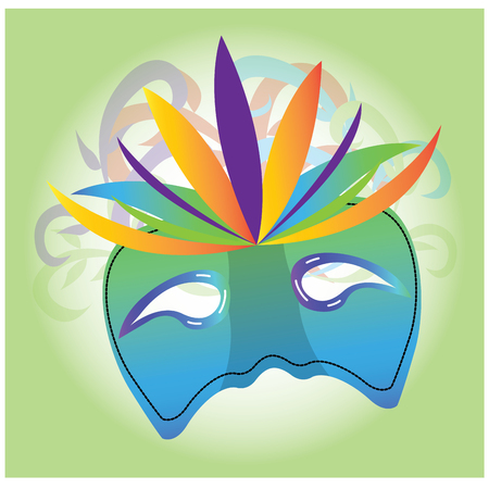 mardi grass: Isolated carnival mask with some ornaments on a green background