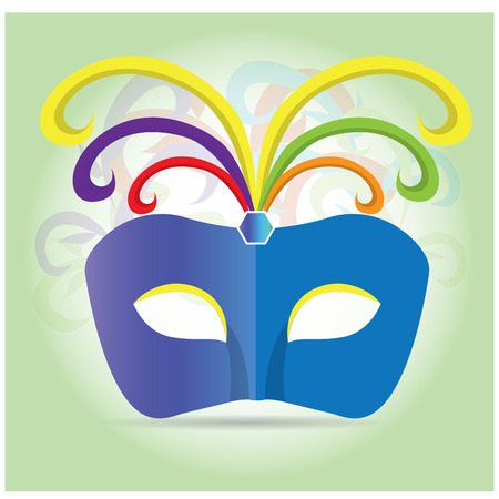 mardi grass: Isolated carnival mask with some ornaments on a light green background
