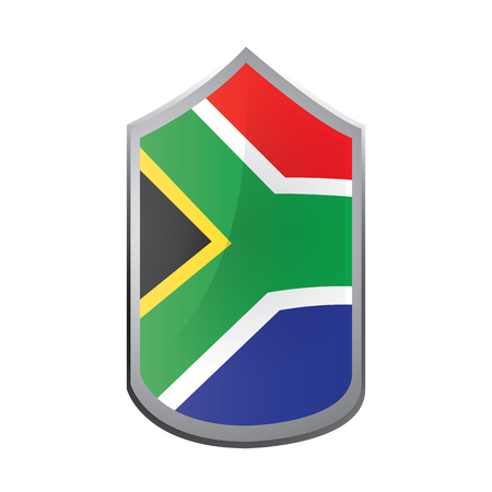 south african flag: Isolated emblem with the south african flag on a white background Illustration