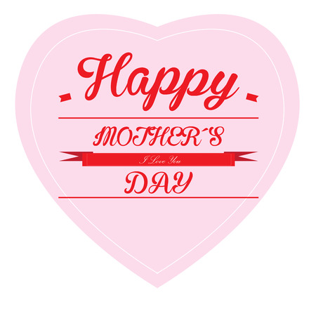 haert: Isolated heart with text and a ribbon on a white background for mothers day celebrations