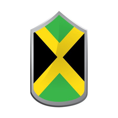 jamaican flag: Isolated emblem with the jamaican flag on a white background