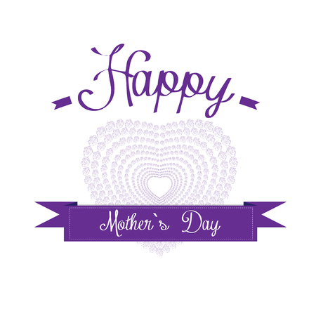 haert: Isolated heart composed with roses and text on a white background for mothers day celebrations