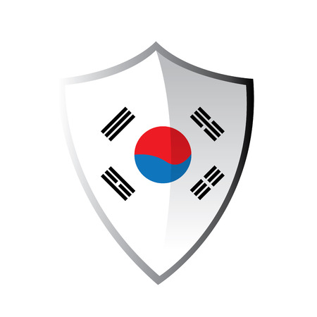 korean flag: Isolated heraldry shield with the south korean flag on a white background
