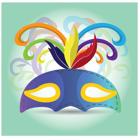 mardi grass: Isolated carnival mask with some ornaments on a colored background