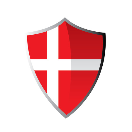 danish flag: Isolated heraldry shield with the danish flag on a white background