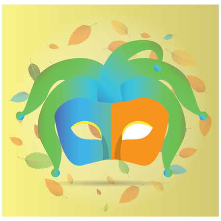 mardi grass: Isolated carnival mask with some ornaments on a light yellow background Illustration