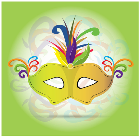 mardi grass: Isolated carnival mask with ornaments and feathers on a green background