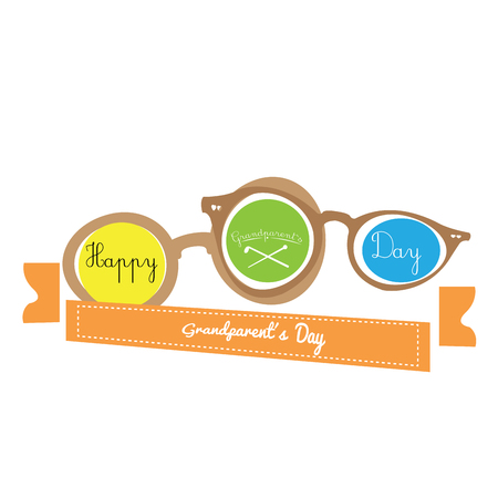 pair of glasses: Pair of glasses on a white background with a ribbon with text