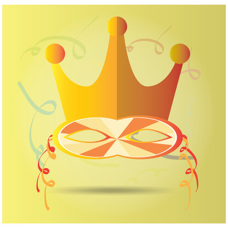 mardi grass: Light yellow background with ornaments and an isolated carnival mask with a crown Illustration