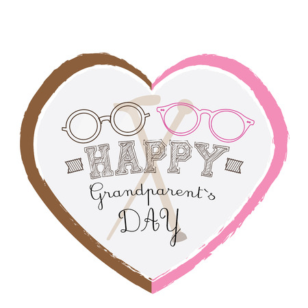 pair of glasses: Isolated heart with text and a pair of glasses on a white background