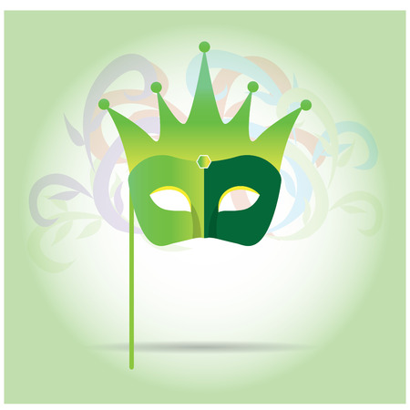 mardi grass: Isolated carnival mask with a crown on a green background Illustration
