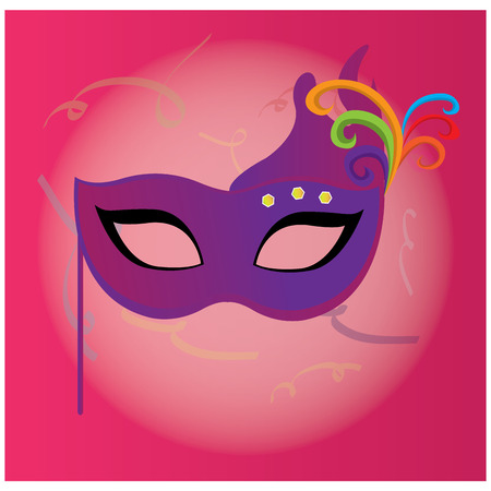 stage costume: Isolated carnival mask with ornaments on a colored background