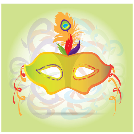 mardi grass: Isolated carnival mask with feathers and ornaments on a light yellow background Illustration