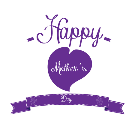 haert: White background with text, a heart and a ribbon for mothers day celebrations Illustration