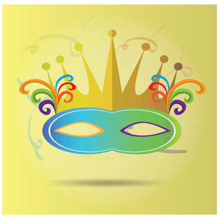 mardi grass: Isolated carnival mask with a crown and ornaments on a light yellow background