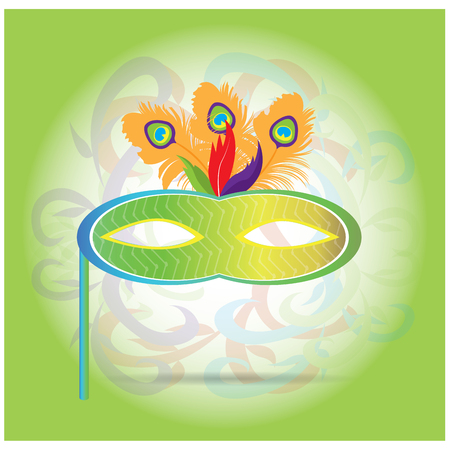 mardi grass: Isolated carnival mask with feathers on a light green background
