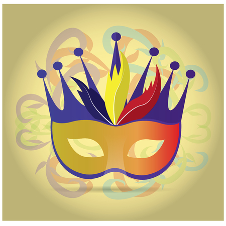 mardi grass: Isolated carnival mask with some feathers and a crown on a colored background Illustration