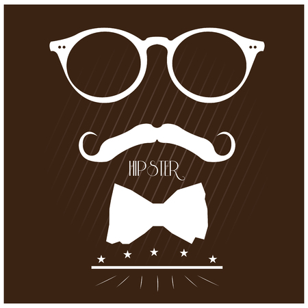 bowtie: Colored background with text and silhouettes of a bowtie, a mustache and glasses