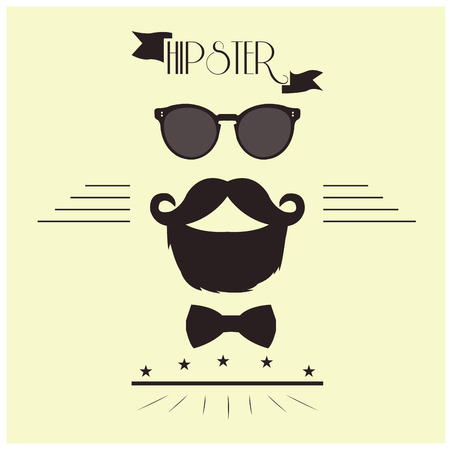 bowtie: White background with text and some hipster icons like glasses, bowtie, mustache and a beard Illustration