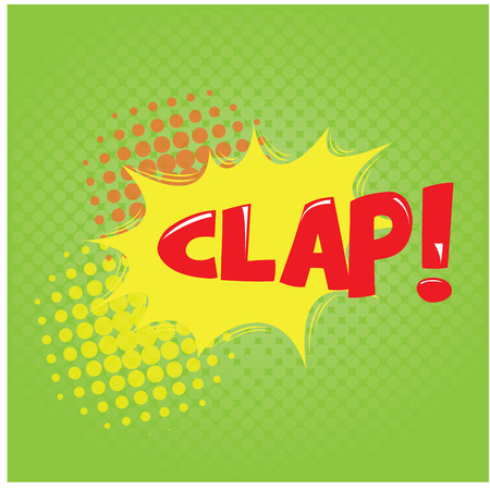 onomatopoeia: Green textured background with an isolated comic expression