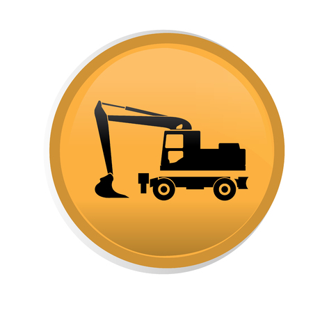 digger: Isolated yellow button with a black silhouette of a digger vehicle Illustration