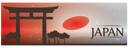 Gekleurde banner met de tekst, de Japanse vlag en de ingang van een Japanse tempel Vector Illustratie