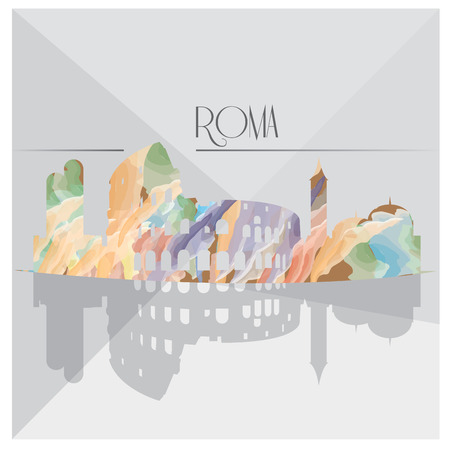 roma: Isolated textured cityscape of Roma on a grey background