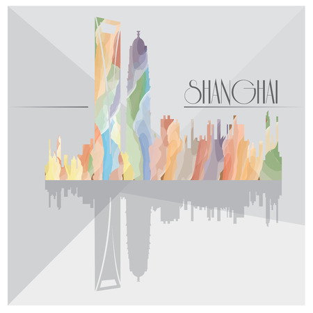 shanghai skyline: Isolated textured cityscape of Shanghai on a grey background Illustration