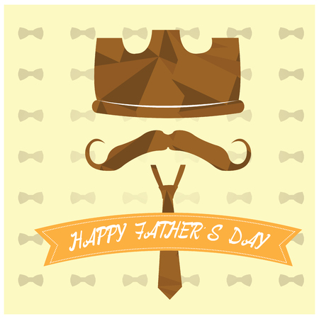royal family: Colored background with a ribbon with text, a crown, a mustache and a necktie for fathers day celebrations