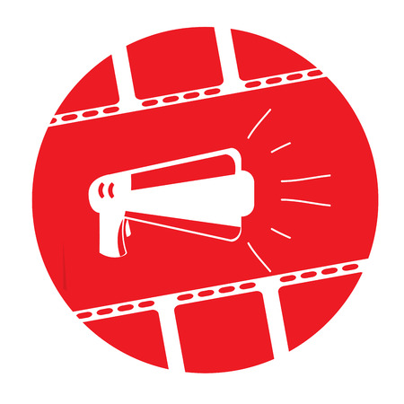 strip show: Isolated red button with a pair of filmstrips and a silhouette of a megaphone Illustration